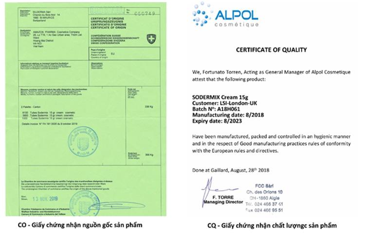 Giấy chứng nhận nguồn gốc sản phẩm – CO và Chứng nhận chất lượng đạt tiêu chuẩn Châu Âu – CQ của Sodermix